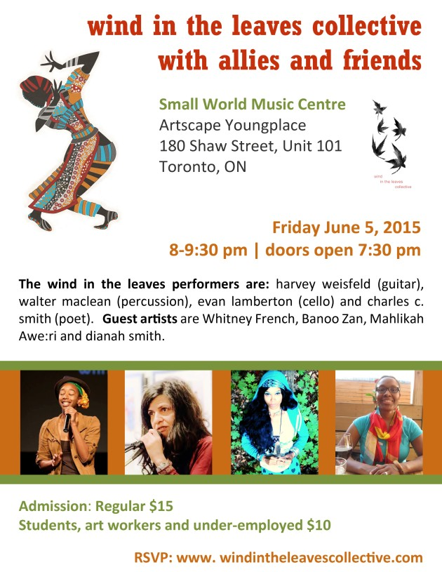poster of performance by wind in the leaves collective with allies and friends on June 5, 2015