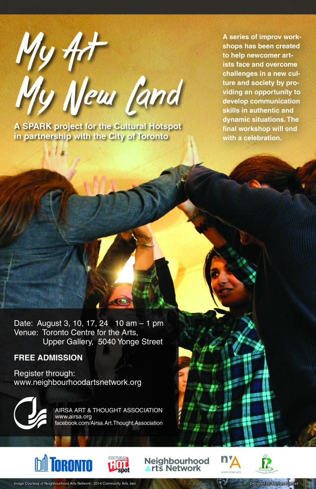 my art, my new land poster showing information and people holding hands