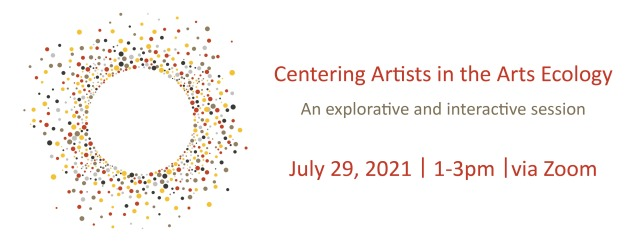 On the left many circles in different colours and sizes creating a circle in the middle. Text on the right Centering Artists in the Arts Ecology: An explorative and interactive session, July 29, 2021, 1-3pm via Zoom