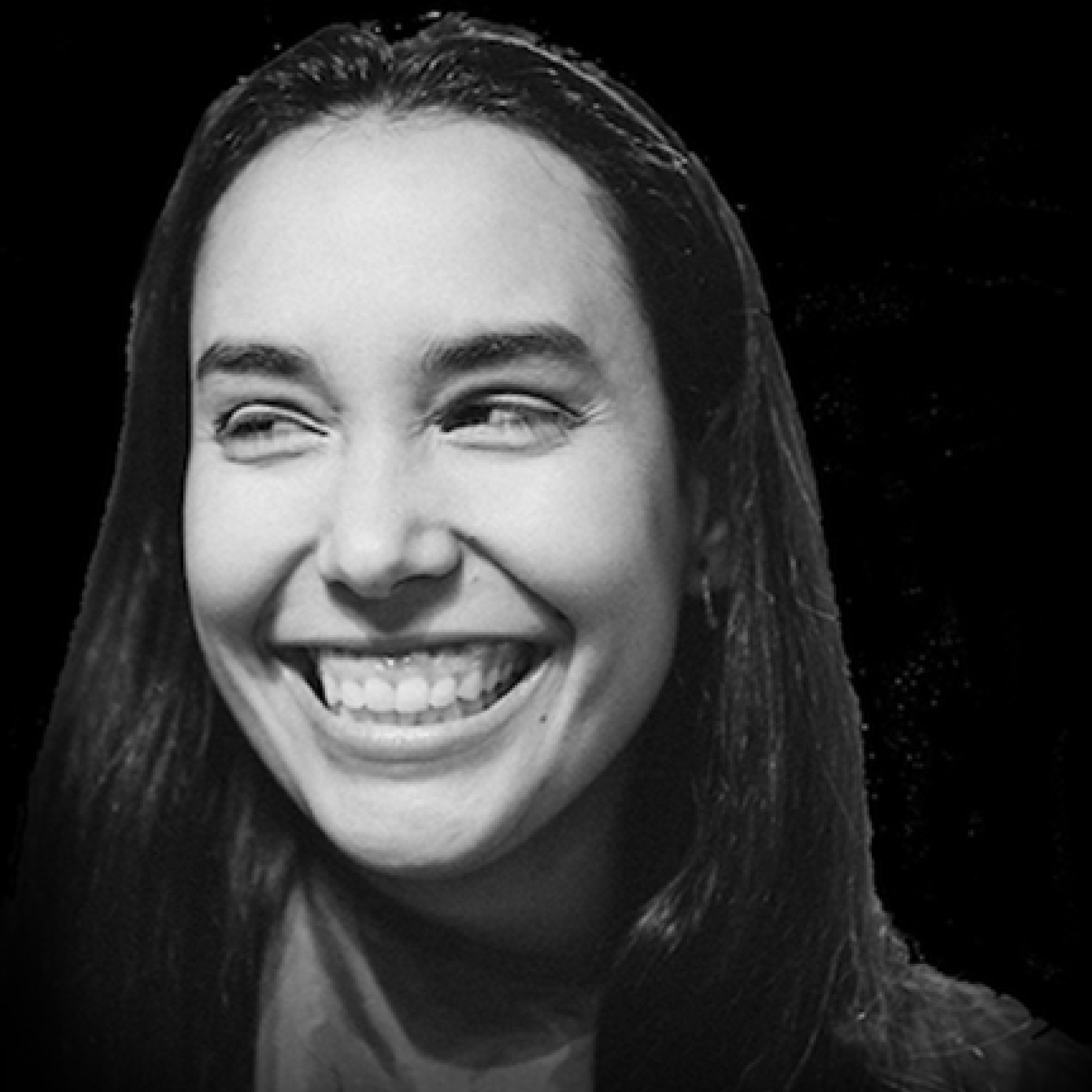 A black and white headshot photo of a women